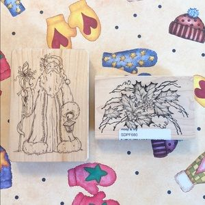 Lot of Two Wood Mounted Christmas Stamps EUC